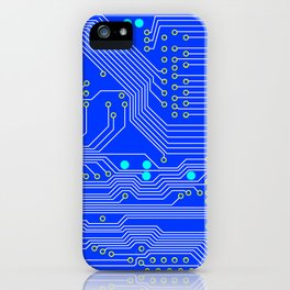 Blue Circuit Board  iPhone Case