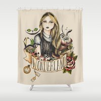 alice in wonderland Shower Curtains featuring Wonderland by Juu Monteiro