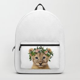 Baby Lion With Flower Crown, Baby Animals Art Print By Synplus Backpack