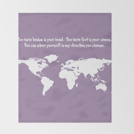World Map with Dr. Seuss Quote Throw Blanket