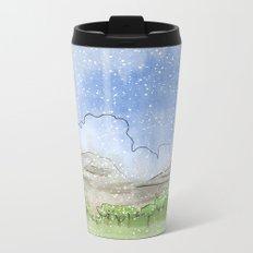 Snowy Watercolor Landscape Metal Travel Mug