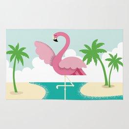 Flamingo in the Ocean Rug