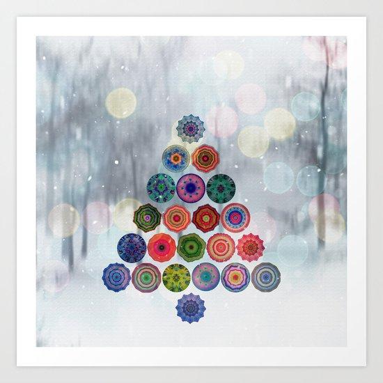 Abstract Christmas Tree Art Print