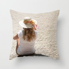 Blonde Girl Throw Pillow
