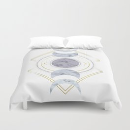 Marble Moon Phases Duvet Cover