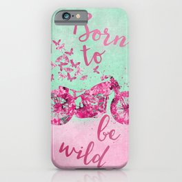 Artsy colorful flower power motorcycle iPhone Case
