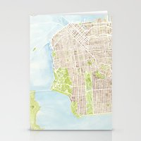 san francisco map Stationery Cards featuring San Francisco CA City Map  by Anne E. McGraw