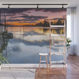Sunset reflections on the river Wall Mural