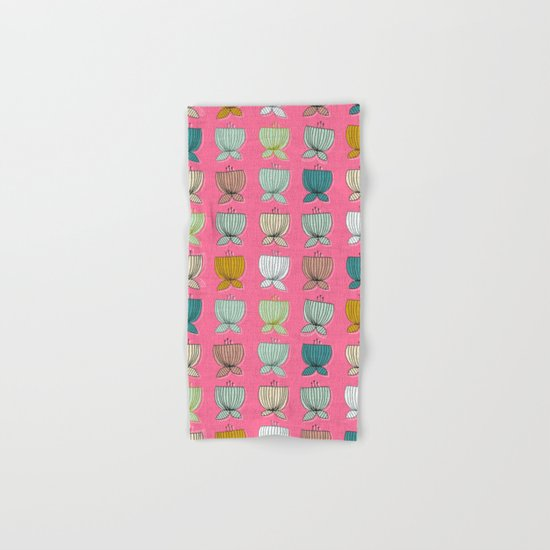 flower cups pink Hand & Bath Towel