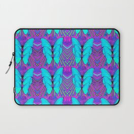 MODERN ART NEON BLUE BUTTERFLIES SURREAL PATTERNS Laptop Sleeve