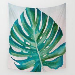 Monstera Leaf Watercolor Wall Tapestry