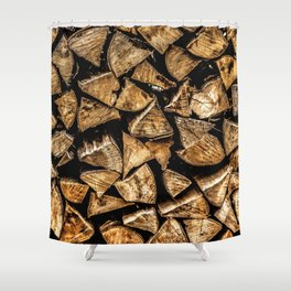 Camp Fire Wood Shower Curtain