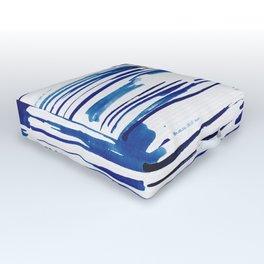 Shibori Paint Vivid Indigo Blue and White Outdoor Floor Cushion