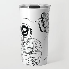 Astronauts in space, continuous line drawing Travel Mug