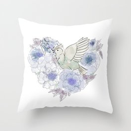 Loose bird of paradise, blue paradisebirds, floral  graphicdesign, birds, home decor Throw Pillow