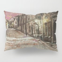 Old City Print Original Oil Painting on Canvas Pillow Sham