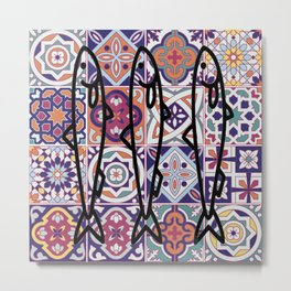 Azulejos Portugal sardine Metal Print