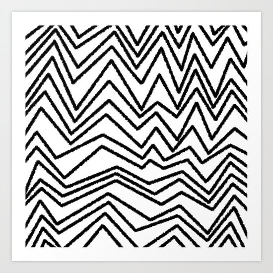 Graphic_Chevron freehand Art Print