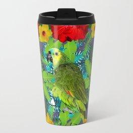 RED-YELLOW HIBISCUS & GREEN PARROT JUNGLE GRAY  ART n Travel Mug