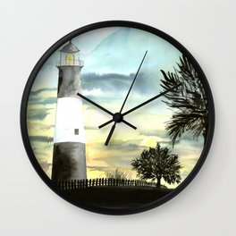 Tybee Island Lighthouse Nautical Art Wall Clock
