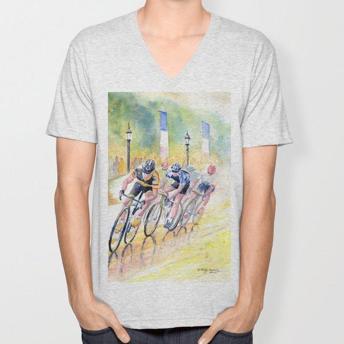 Colorful Bike Race Art Unisex V-Neck