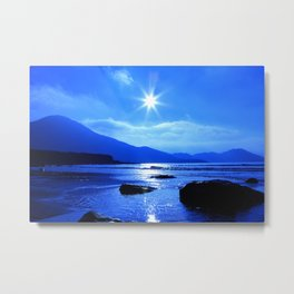 Beach In Blue Metal Print