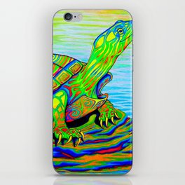 Colorful Psychedelic Neon Painted Turtle Rainbow Turtle iPhone Skin