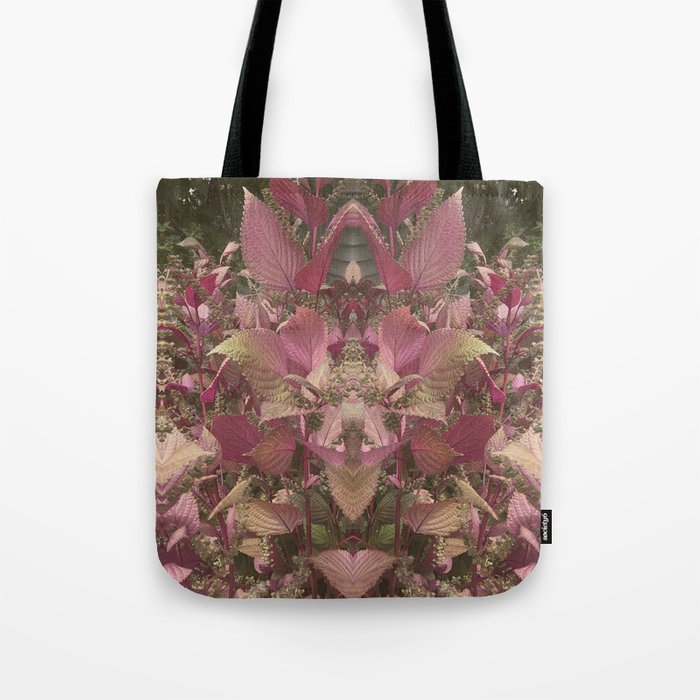 Red Shiso Warm Tones Pattern Tote Bag