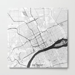 Detroit Map Gray Metal Print