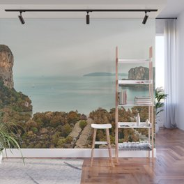 Retro Thailand  // A Modern Artsy Style Graphic Photography of Majestic Jungle Mountains on the Sea Wall Mural