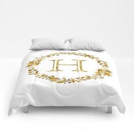 Monogram Letter H with Golden Wreath Comforters