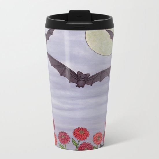 bats, zinnias, and black cat Metal Travel Mug