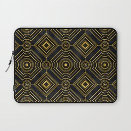 Marrakesh Art Deco Gold and Black Geometric Pattern Laptop Sleeve
