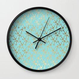 Modern teal faux gold nautical elegant anchor Wall Clock