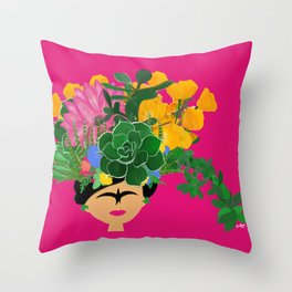 Keep Blooming Friducha Throw Pillow