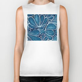 Funny flower in blue Biker Tank