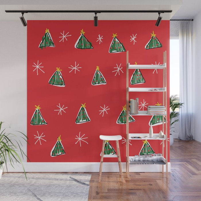 Ugly Christmas Tree.Ugly Christmas Trees Wall Mural By Starfishnstopwatches