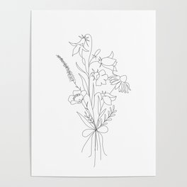 Small Wildflowers Minimalist Line Art Poster