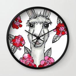 Llet Me Llove You! - Llama & Roses Wall Clock