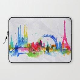 Silhouette overlay city Paris Laptop Sleeve