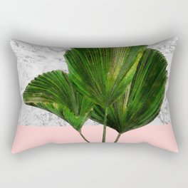Palm Plant on Marble and Pastel Wall Rectangular Pillow