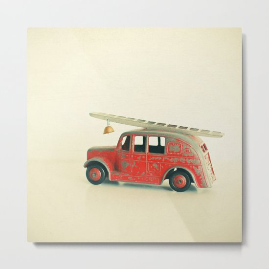 Red Fire Engine Metal Print