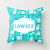 lawyer Throw Pillows featuring Turquoise Lawyer   by Be Raza