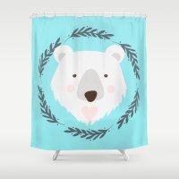 polar bear Shower Curtains featuring polar bear by Taranta Babu