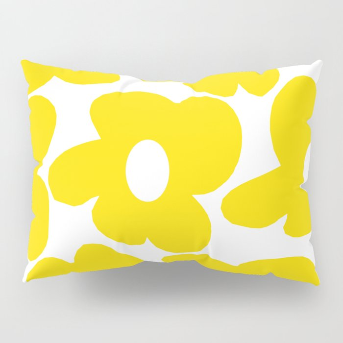 Large Yellow Retro Flowers on White Background #decor #society6 #buyart Pillow Sham