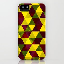 Yellow, green and maroon textured triangles pattern iPhone Case