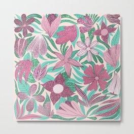 Pastel Pink Green Floral Leaves Glitter Pattern Metal Print