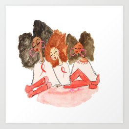 Unbothered Breast Cancer Awareness Girls Art Print