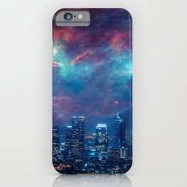 Los Angeles USA Megapolis Night Skyscrapers Houses Cities megalopolis night time Building iPhone Case