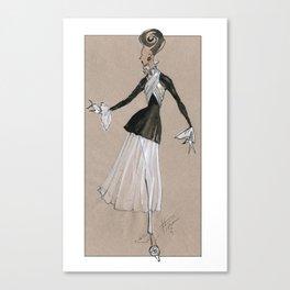 Fashion Illustration - Black & white dress Canvas Print